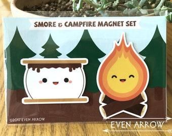 Cute Smore and Campfire Magnet Set