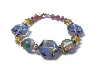 Bracelet purple hues glass beads