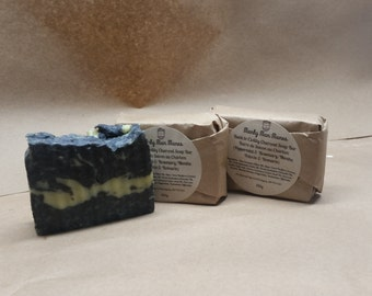 Back to Civility Charcoal Soap Bar  110g/Bar with Pumice / Homemade Soap / Exfoliating Soap / Peppermint / Rosemary / Bulk Uncut