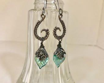 Handmade Sterling Silver Earrings with Aqua Czech Glass, Wirewrapped - OOAK