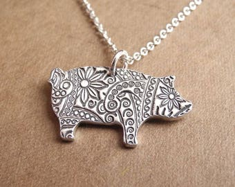 Pig Necklace, Flowered Pig, Fine Silver, Sterling Silver Chain, Made To Order