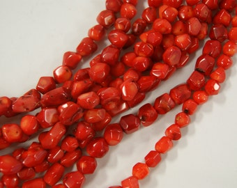 Red Sponge Coral Nugget Shaped Gemstone Bead-9mm~-15 inch strand-