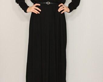 Black maxi dress Long sleeve dress Batwing dress for women Custom made dress Batwing sleeve Plus size dress