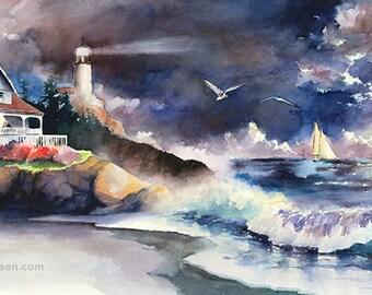 Pacific Evening - Watercolor Lighthouse Painting Print by Michael David Sorensen. Sailboats. Moon. Coastal. Ocean.  Beach House Art. Purple.