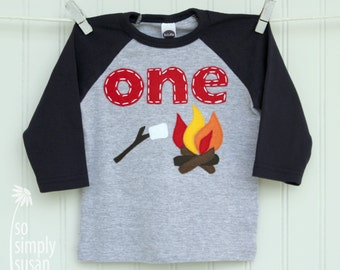 camping birthday, first birthday outfit, heather gray navy, s'mores campfire shirt, baseball birthday, 1st bday shirt, boy's one raglan