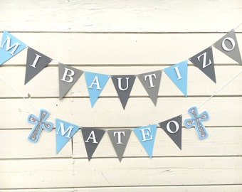 Baptism Banner | Mi Bautizo | Blue and Grey Banner | Baptism decor | Baptism Party | Baptism Decor | Mi Bautizo Banner
