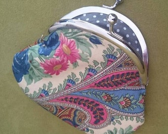 Handmade Vintage Etro Printed Fabric Coin Purse Metal frame clasp purse