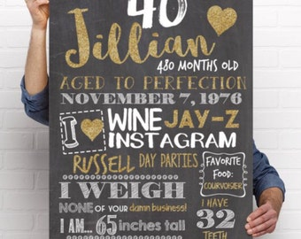 Any age! Adult smash cake prop - 30th, 40th, Funny Birthday Personalized Chalkboard Sign -digital file - (Chalk-AdultGold)