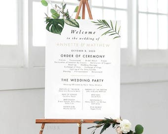 Tropical Wedding Program Sign, Wedding Program Poster, Wedding Program Signage, Wedding Program Printable PDF - (Item code: P1064)
