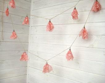Wedding Lace garland -Lace Bunting - Garland wedding decoration -  Pink Lace garland-Romantic Weddings