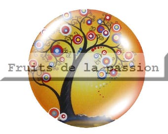 Set of 2 20mm, nature, trees, yellow round glass cabochons