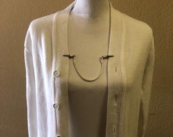 Pearl cardigan/ sweater/ collar clips.