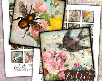 Simply Spring, Printable Ephemera, 1.5 Inch Squares, Printable Squares, Spring Ephemera, Garden Ephemera, Birds, Flowers, Decoupage Paper