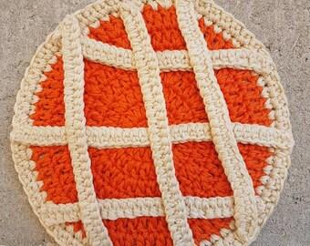 En forme de crochet, crochet, décoration manique tarte abricot