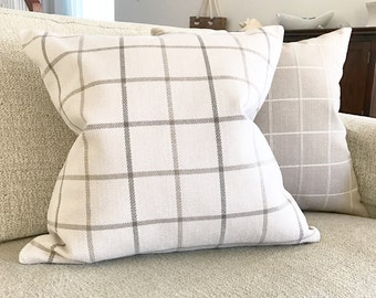 Cream Plaid Pillow Cover, Designer Plaid Pillow Cover, Plaid Pillow Cover, Cream Plaid Pillow Cover, Ethan Allen Inspired Pillow Cover