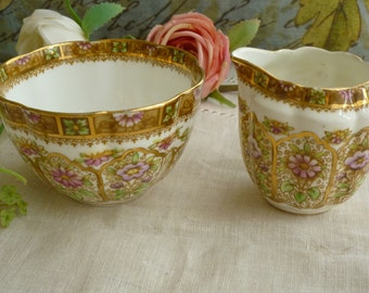 Royal Albert Court Creamer and Sugar Set Made in England 1950s Bone China. Open Sugar and Creamer Set