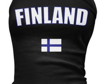 Finland Ladies Juniors Tank Top, Finnish Flag, Suomi, Republic of Finland Ladies Juniors Finland Soccer Tank Tops AMD_FIN_08