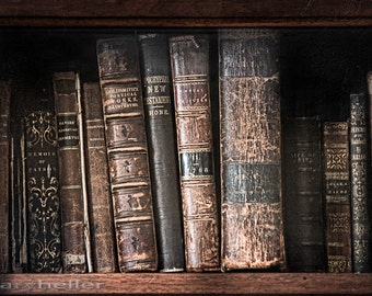 Old books on a shelf in a 19th century library, Poetry and literature, Moody light, Old world, Signed print
