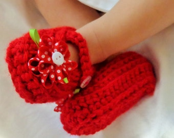 Mary Jane Baby Booties with red flower, 3 to 6 months
