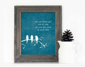 Digital Art Print By Your Side Inspirational Blue Poster Modern Love Quote Print Motivational Typography Three Little Birds