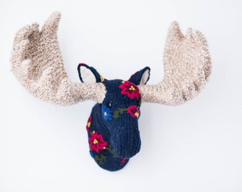 Handmade Faux Taxidermy - Home Decor - Blue Floral Sweater Moose Head Wall Art - Paper Mache and Recycled Materials