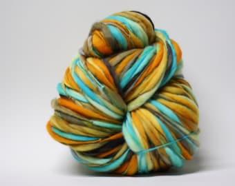Handspun Yarn Thick and Thin Merino Wool Slub  Hand Dyed tts(tm) Bulky Self Striping xlrh 1501a half-pounder
