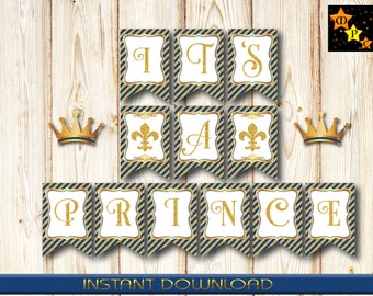 """Banner for Baby Shower, It's a Prince, Navy Blue and Gold, 5"""" x 7.5"""" each, Instant Download, Printable, DIY, PDF"""