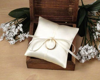 Small Ring Pillow, Ivory Satin Engagement Ring Pillow, Mini Ring Bearer Box Pillow, Cream Jewelry Pad, Small Satin Bridal Ring Pillow