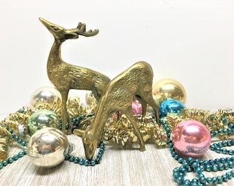 Vintage Brass Deer Reindeer Pair ChristmasMid-century Hollywood Regency Woodland