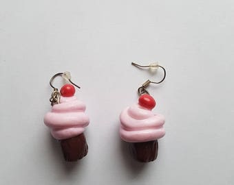 Earrings in shape of a chocolate cupcake with pink frosting and a cherry on silvery ear hooks, original, food jewelry