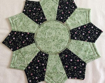 Reversible Candlemat; Miniature Quilt; Small Quilt;Table mat,