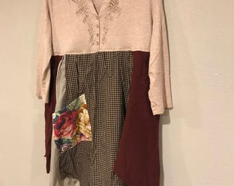 The Maud dress/tunic.  Small, medium, prairie chic, boho chic, upcycled, recycled, eco friendly, artsy, one of a kind,  Melbury Road
