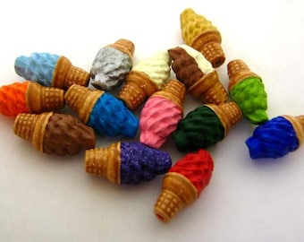 10 Tiny Ice Cream Beads - mixed - CB732