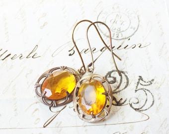 Citrine crystal earrings jewel vintage style glass jewel yellow oxidized brass glamour art nouveau dangle antique style topaz