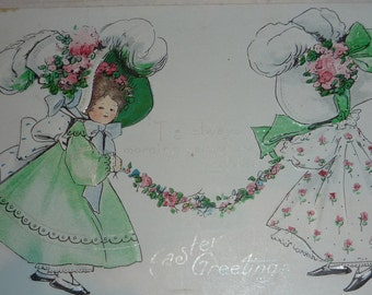 NEW Listing**U/S B.E.B. Girls in Their Easter Bonnets With Rose Swag Antique Easter Postcard