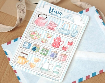 Tea Time Decorative Stickers ~ Teapots, tea cups, tea containers, tea lover, watercolor ~ For your Planner, Journal, Scrapbook...