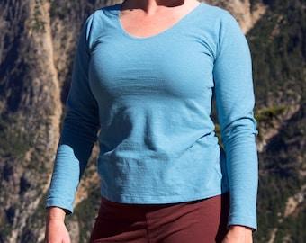 "Organic Hemp Clothing - Hemp Scoop Neck Shirt - Long Sleeve, aka ""The Scooper"""