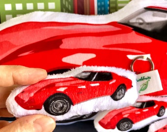 Stuffed Car Corvette, Corvette Stingray 1973, Mini Car Plush Toy, Classic Car Gift, Small Car Plushie, Red Car Softie, Car Lover Gift