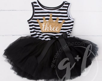Third Birthday outfit three dress or Black and white with gold glitter, third birthday dress, third birthday outfit, 3rd birthday, crown