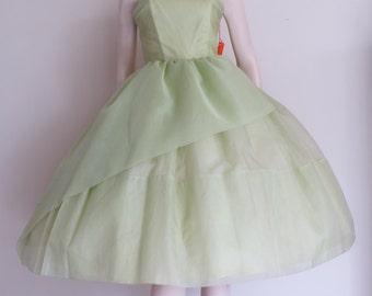 50% OFF SALE Stunning NOS Chartreuse Vintage 50s Prom Dress / Cup Cake / Full Skirt / Medium / Strapless / Shelf Bust