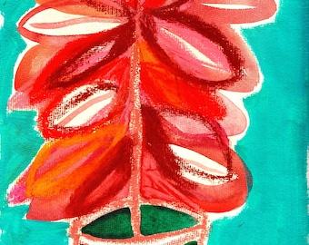 Original Mixed Media Painting - Ficus Plant - Plant Painting