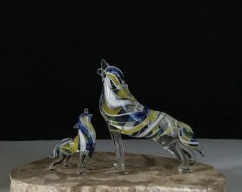 Handblown Glass Wolf & Baby Sculpture