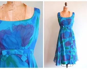 Vintage 1960's Blue Floral Silk Chiffon Party Dress | Size Medium