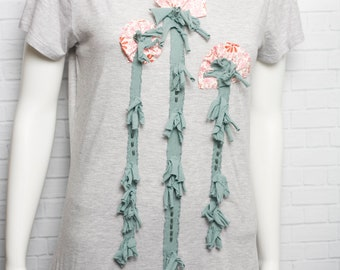 Women's Appliqued and Beaded Organic Bamboo and Organic Cotton Scoop Neck T-Shirt Gray with Pink and Teal Flowers Size Medium Ready to Ship