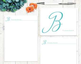 complete personalized stationery set - CURSIVE INITIAL MONOGRAM - stationary set - note cards - notepad - monogrammed
