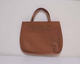 TANNER Made in Italy Luggage Brown Pebble Grain Leather Totebag Shopper Handbag