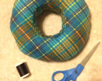 Piercing Pillow - Turquoise/Orange plaid super-soft flannel - Cartilage Piercing Pillow - Donut Pillow