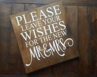 Leave Your Wishes | Mr & Mrs | Wedding Decor | Guest Book | Wedding Wood Sign | Made in Canada