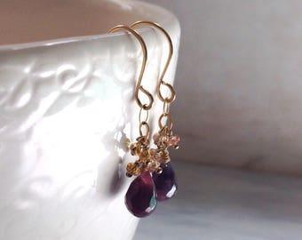 Dark Pink Sapphire Earrings - September Earrings - Dainty Gold Earrings - Sapphire Stone Earrings - 14kt Gold Earrings - Dangle Earrings