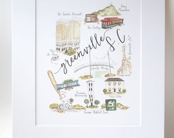 Greenville SC Illustration Print